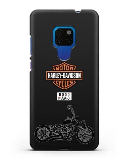 Чехол с изображением мотоцикла Харли Дэвидсон с номерным знаком силикон черный для Huawei Mate 20