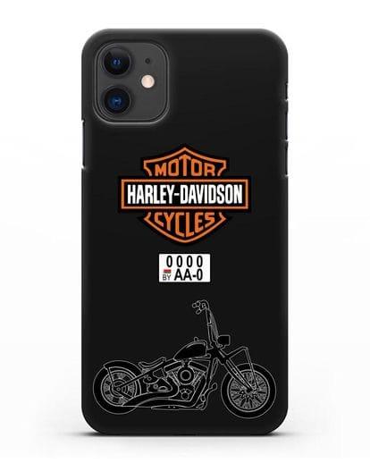 Чехол с изображением мотоцикла Харли Дэвидсон с номерным знаком силикон черный для iPhone 11