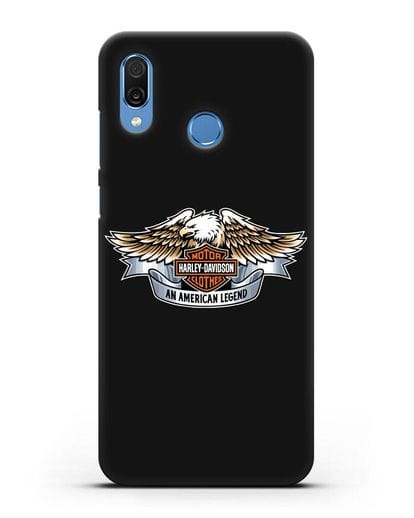 Чехол с изображением орла и надписью Harley-Davidson силикон черный для Honor Play