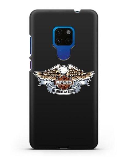 Чехол с изображением орла и надписью Harley-Davidson силикон черный для Huawei Mate 20