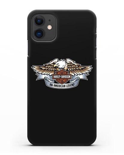 Чехол с изображением орла и надписью Harley-Davidson силикон черный для iPhone 11