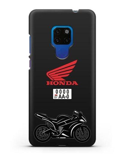 Чехол с изображением спортивного мотоцикла Honda с номерным знаком силикон черный для Huawei Mate 20