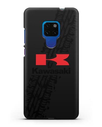 Чехол с логотипом Kawasaki и протектором шин силикон черный для Huawei Mate 20