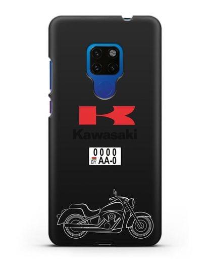 Чехол с изображением мотоцикла Kawasaki Vulcan с номерным знаком силикон черный для Huawei Mate 20