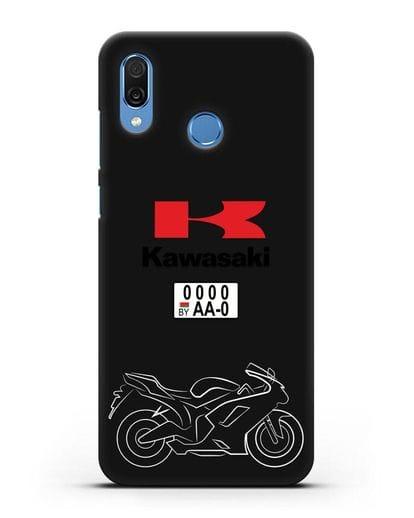 Чехол с изображением мотоцикла Kawasaki ZX с номерным знаком силикон черный для Honor Play