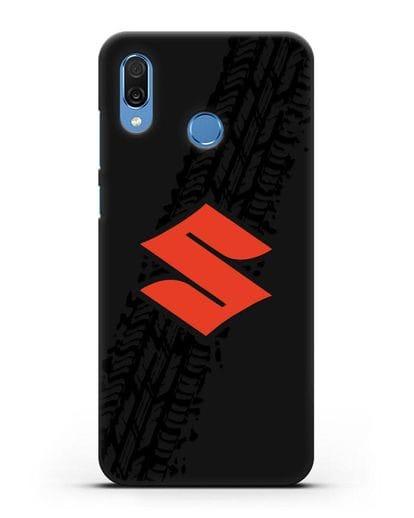 Чехол с логотипом Suzuki и протектором шин силикон черный для Honor Play