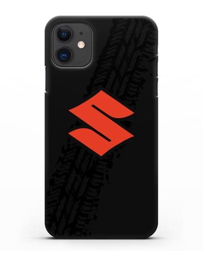 Чехол с логотипом Suzuki и протектором шин силикон черный для iPhone 11