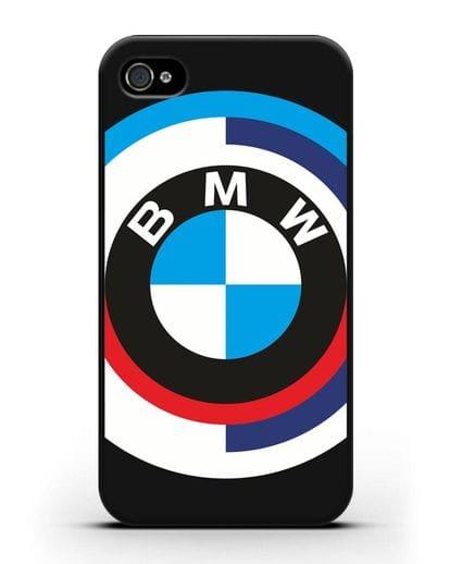 Чехол с логотипом BMW силикон черный для iPhone 4/4s