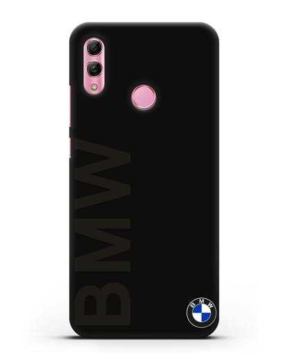Чехол с надписью BMW и логотипом силикон черный для Honor 10 Lite