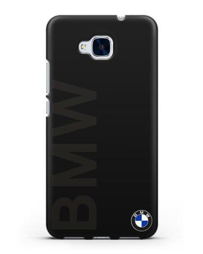 Чехол с надписью BMW и логотипом силикон черный для Honor 5C