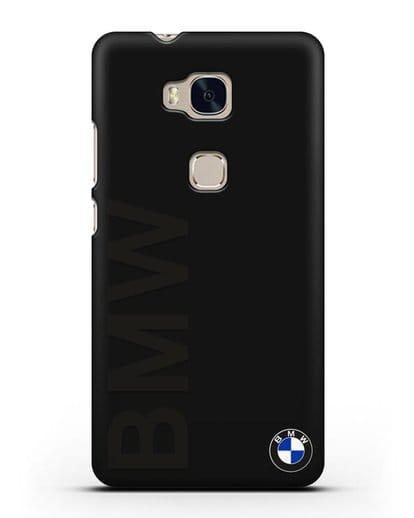 Чехол с надписью BMW и логотипом силикон черный для Honor 5X