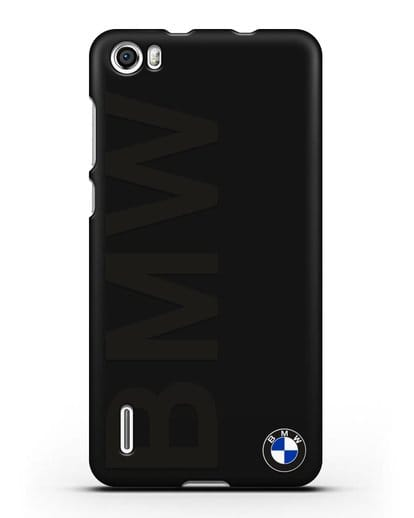Чехол с надписью BMW и логотипом силикон черный для Honor 6