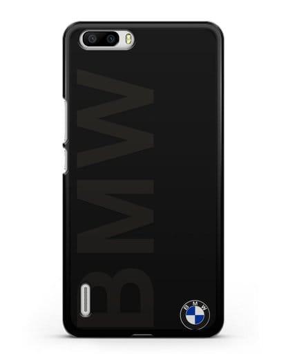 Чехол с надписью BMW и логотипом силикон черный для Honor 6 Plus