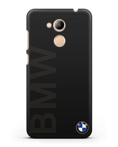 Чехол с надписью BMW и логотипом силикон черный для Honor 6C Pro