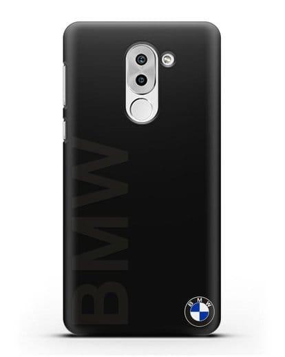 Чехол с надписью BMW и логотипом силикон черный для Honor 6X