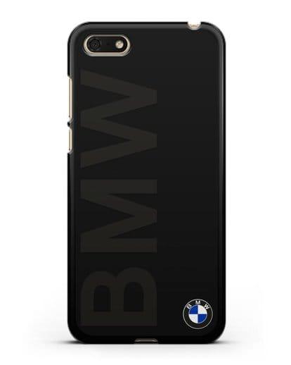 Чехол с надписью BMW и логотипом силикон черный для Honor 7А