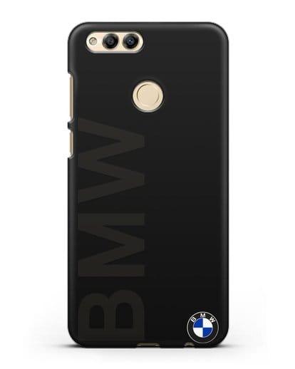 Чехол с надписью BMW и логотипом силикон черный для Honor 7X