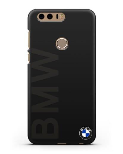 Чехол с надписью BMW и логотипом силикон черный для Honor 8