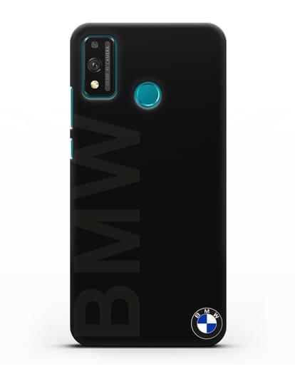 Чехол с надписью BMW и логотипом силикон черный для Honor 9X lite