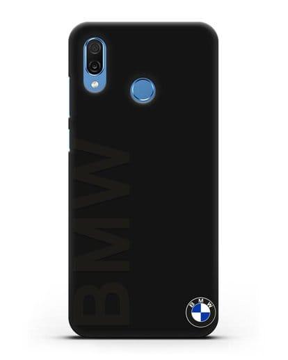 Чехол с надписью BMW и логотипом силикон черный для Honor Play