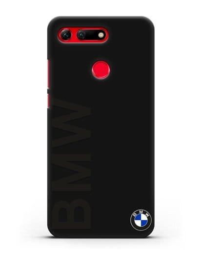 Чехол с надписью BMW и логотипом силикон черный для Honor View 20