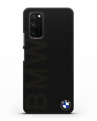 Чехол с надписью BMW и логотипом силикон черный для Honor View 30 Pro