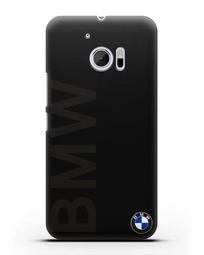 Чехол с надписью BMW и логотипом силикон черный для HTC 10