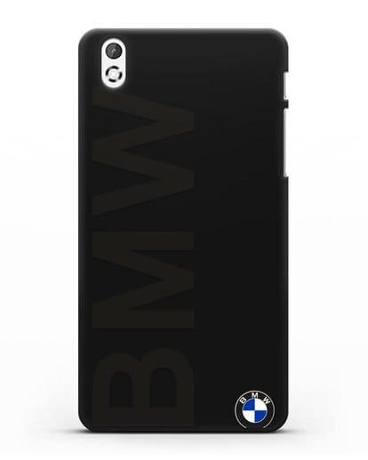 Чехол с надписью BMW и логотипом силикон черный для HTC Desire 816