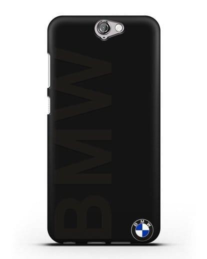 Чехол с надписью BMW и логотипом силикон черный для HTC One A9