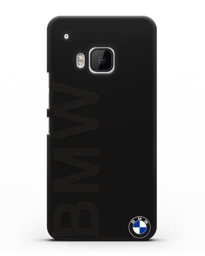Чехол с надписью BMW и логотипом силикон черный для HTC One M9