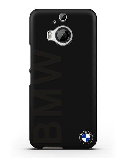 Чехол с надписью BMW и логотипом силикон черный для HTC One M9 Plus