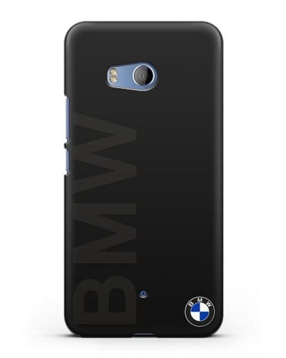 Чехол с надписью BMW и логотипом силикон черный для HTC U11