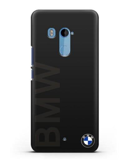 Чехол с надписью BMW и логотипом силикон черный для HTC U11 Plus