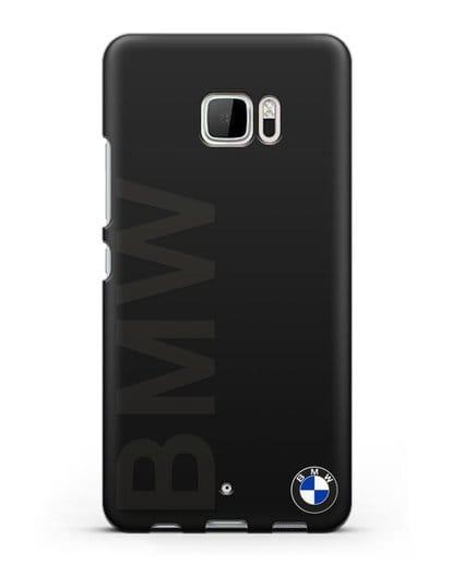 Чехол с надписью BMW и логотипом силикон черный для HTC U Ultra