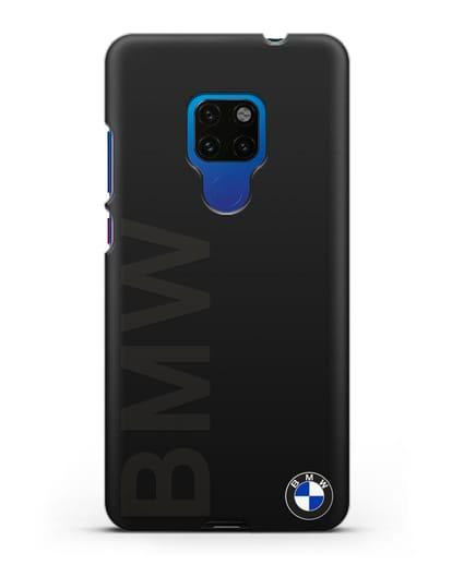 Чехол с надписью BMW и логотипом силикон черный для Huawei Mate 20