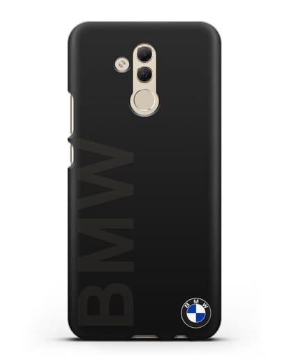 Чехол с надписью BMW и логотипом силикон черный для Huawei Mate 20 Lite