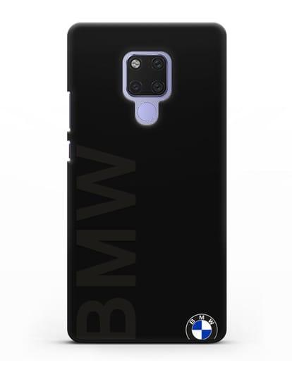 Чехол с надписью BMW и логотипом силикон черный для Huawei Mate 20X