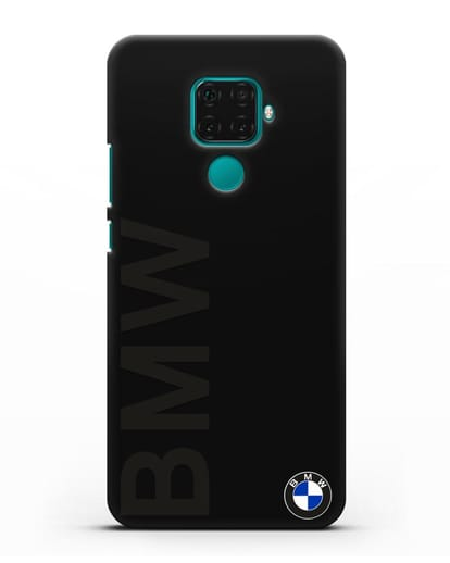 Чехол с надписью BMW и логотипом силикон черный для Huawei Mate 30 Lite
