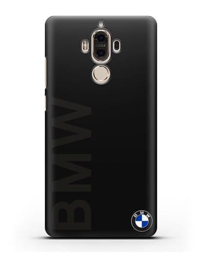 Чехол с надписью BMW и логотипом силикон черный для Huawei Mate 9