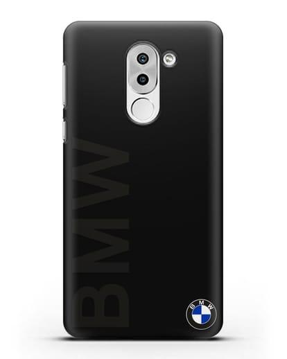 Чехол с надписью BMW и логотипом силикон черный для Huawei Mate 9 Lite