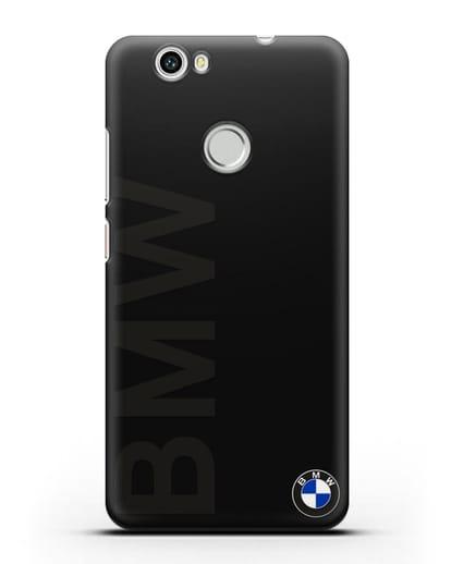 Чехол с надписью BMW и логотипом силикон черный для Huawei Nova
