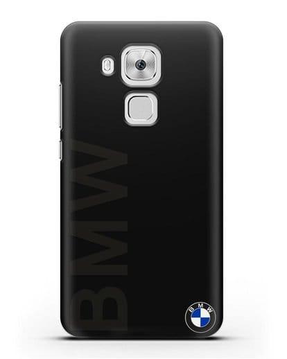 Чехол с надписью BMW и логотипом силикон черный для Huawei Nova Plus