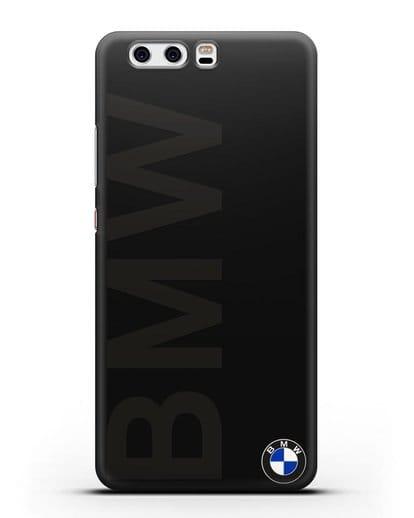 Чехол с надписью BMW и логотипом силикон черный для Huawei P10