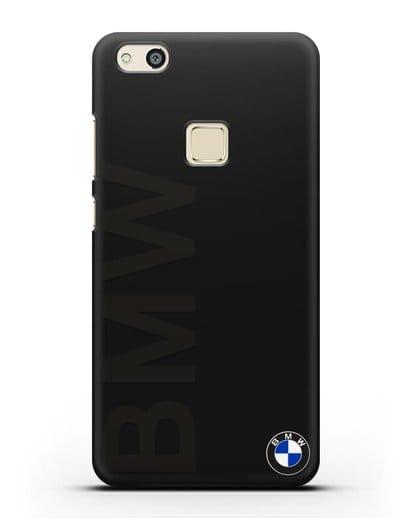 Чехол с надписью BMW и логотипом силикон черный для Huawei P10 Lite