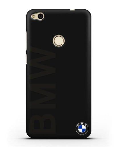Чехол с надписью BMW и логотипом силикон черный для Huawei P8 Lite 2017