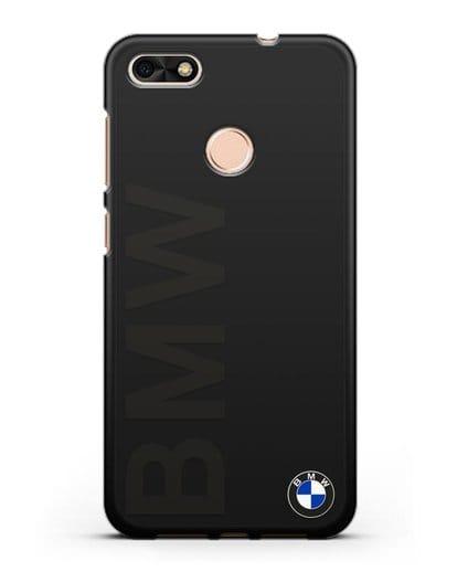 Чехол с надписью BMW и логотипом силикон черный для Huawei P9 Lite mini
