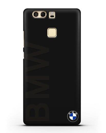 Чехол с надписью BMW и логотипом силикон черный для Huawei P9 Plus