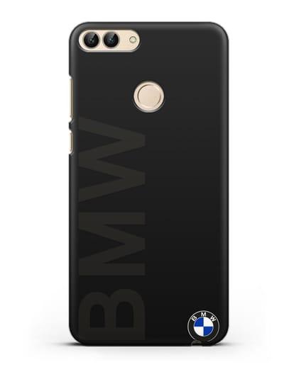 Чехол с надписью BMW и логотипом силикон черный для Huawei P Smart