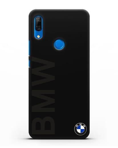 Чехол с надписью BMW и логотипом силикон черный для Huawei P Smart Z