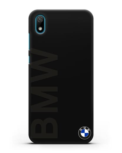 Чехол с надписью BMW и логотипом силикон черный для Huawei Y5 2019